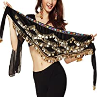 Wuchieal Hip Scarf Wave Belly dance Hip Scarf Gold Coins Skirts Wrap Noisy Belt (Black)