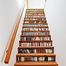 QTZS Kreative 3D Bücherregal Treppe Aufkleber DIY Renovierung Dekorative  Wandaufkleber 13 Stücke