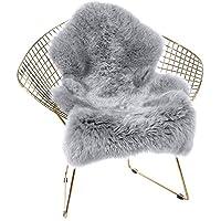 Cumay Faux lambskin sheepskin rug (23.6 x 35.4inch (W) x (L) ), lambskin imitation rug, longhair fur, Leather Polyester, Faux Fleece Chair Cover Seat Pad Soft Fluffy Shaggy Area Rugs