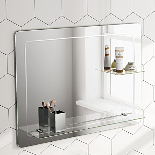 iBathUK 800 x 600 mm Designer Bathroom Wall Mirror   Glass Shelves MC151