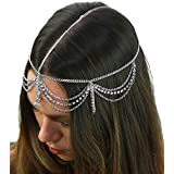 3 Draping Strand Head Chain Jewelry With Front Rhinestone Dangle In Silver Tone