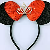 Minnie Mouse Ears Headband Shiny Black Glittery Red Bow Tiara Birthday Party/Disney Princess Ears/