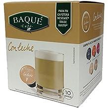 Cafés Baqué Cápsulas Compatibles Dolce Gusto Con Leche - 100 gr - [Pack de 4]