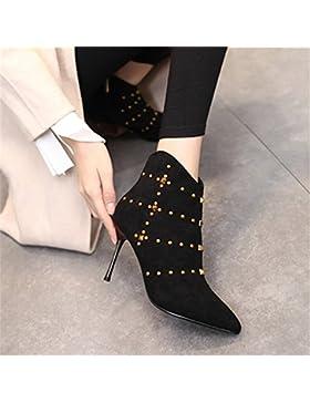 KPHY-Sexy botas de invierno del remache nueva punta de satén con cremallera lateral y detalle High-Heeled botas...