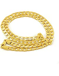 Dolly Jewels Gold Plated Flat Simple Men'S Chain Necklace For Men