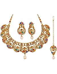 Apara Bollywood Design Multicolour Necklace Set With MaangTikka For Women