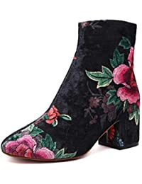 Knight Boot Round Toe Broderie Chunky Heel Short Boot Style Chinois Mid / Low Heel Chelsea Boot Plateforme Étanche Suede Automne / Winter Ankle Boot Femmes Bare Boot ( Color : Black )