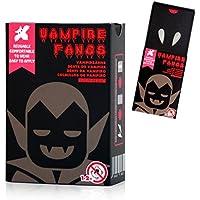 2 pieza vampiro dientes del vampiro dientes de los colmillos del vampiro vampiro reutilizable para dentaduras vampiro de Halloween Cosplay del carnaval del partido (Colmillos de vampiros)