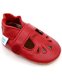 4712cbe6f133 Dotty Fish Soft Leather Baby Shoes. Non Slip Suede Sole. Classic Red