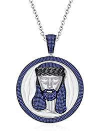 "Silvernshine Men's 1.40 Ct Round Tanzanite Jesus Face Pendant 18"" Chain In 14K White Gold Fn"