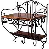Kraftee Handicrafts Wooden Iron Set Top Box 2 Shelves With 2 Hooks - Multi Purpose