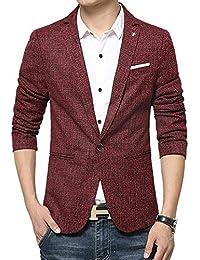 Blazer Slim Fit Leisure Coton Hommes en pour Style Simple Costume Business  Blazer À 1 Bouton 2345a3311cc