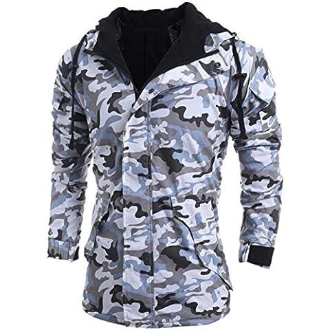 Ropa de abrigo para hombre, RETUROM Nueva moda Hombre Otoño Invierno Camuflaje Viento Hombres Capucha Blusa Blusa