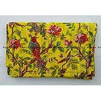 Sophia Art Indian Bohemain Bedding Kantha Vintage Ethnic Cotton Bird Kantha Quilt Coverlet Bedspread Patchwork Stitch Blanket Queen Size Kantha Quilt (Yellow)