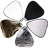 CowboyStudio Photography Photo Portable Grip Reflector 30inch 5in1 Triangle Collapsible Multi Disc Reflector with Handle