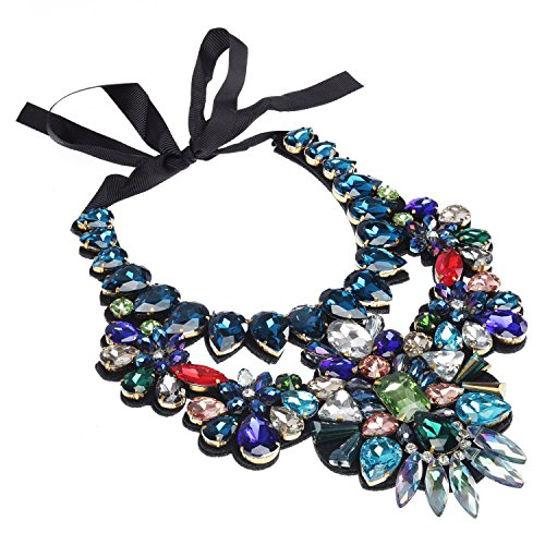 de40c990c Holylove Women Statement Bib Necklace with Ribbon Colorful, Fashion Necklace  for Women Novelty Costume Jewelry 1 Pc with Gift Box- HL9050
