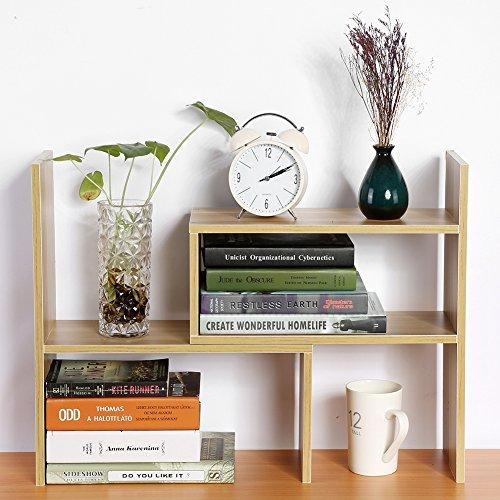 Cocoarm DIY Tisch Desktop Lagerregal Standregal Display Regal Organizer Tischorganizer Schreibtisch Tischregal Bücherregal Aufbewahrungsregal 3 Farbe (Holz) (Arbeitsplatte Regal)