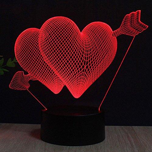 Pfeilherz 3D Optische Illusions-Lampen LED Nachtlichter, FZAI Touch Tischlampe Haus Dekoration 7 Farben Einzigartige Lichteffekte zum Kinder (Dekorationen Haus)