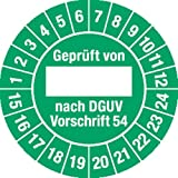 Prüfplakette Geprüft...DGUV Vorschrift 54, 2015 - 2024, Folie, Ø 3 cm, 100 St.