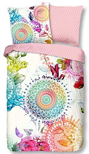 Rose Bettdecke (HIP Satin Bettwäsche LYLIANE 6091 reine Baumwolle Satin - farbenfrohe Mandalas und prächtige Blumen Blüten - Bettwäsche-Set - Bettdecke und Kissenbezug rosé 135x200 cm)
