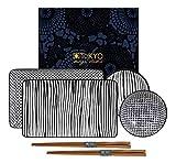 Casalanas Tokyo Design Studio, Nippon Black, Sushi Set, 6teilig. 2 Sushi Platten, 2 Saucenschalen, 2 Paar Holz Chopsticks. Sushiteller Porzellan Set.