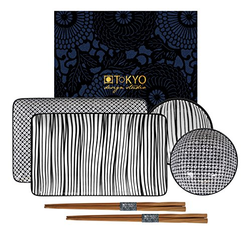 TOKYO design studio, Nippon Black, Sushi Set, 6teilig. 2 Sushi Platten, 2 Saucenschalen, 2 Paar Holz Chopsticks. Sushiteller Porzellan Set. Design Sushi-set