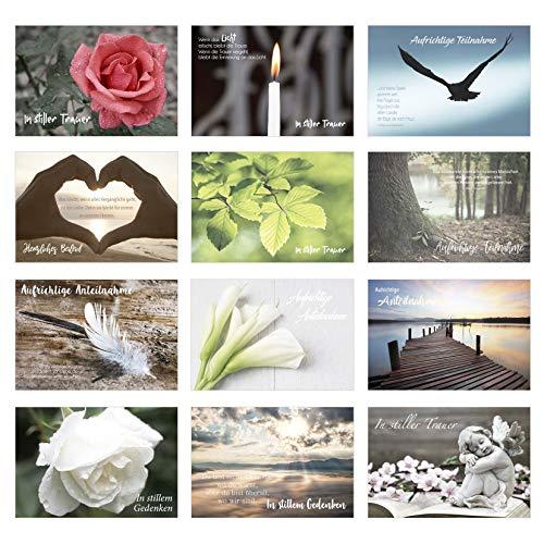 Set 12 einfühlsame Premium-Trauerkarten/Beileidskarten mit Umschlag. Trauerkarte Beileidskarte mit Spruch (Doppelkarten/Klappkarten mit Briefumschlag)