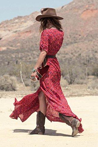 Ineternet Robe Boho été Mousseline de Soie Floral Party Plage Maxi Robe Cardigan Long Femme Rouge
