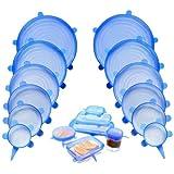 طقم اغطية سيليكون محكمة قابلة لاعادة الاستخدام لعلب حفظ الطعام - ازرق