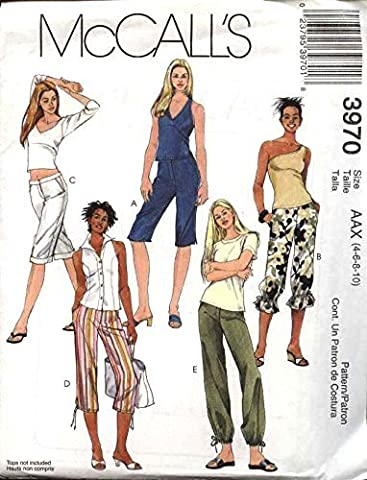 McCall's Sewing Pattern 3970 Misses Size 4-10 Fitted Straight Leg Pants Shorts Capri Cropped by McCall's