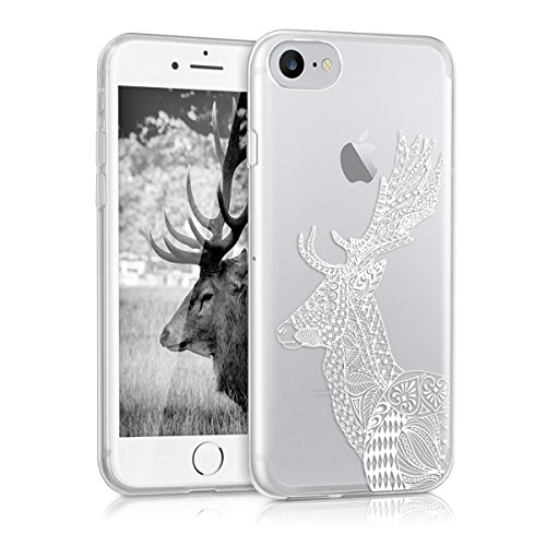 kwmobile Étui en TPU silicone élégant pour Apple iPhone 7 / 8 en or rose métallique zentangle cerf IMD blanc transparent