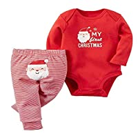 Baby My First Christmas 2 Piece Red Bodysuit & Striped Pant Set (Red, 3-6m)