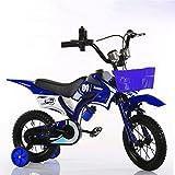 Jungen Kinder Fahrrad Motorrad-Stil Fahrrad Stahlrahmen rot und blau für 2-7 Jahre alte Kinder ( Farbe : Blau , größe : With basket-26