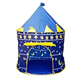 Trada Kinder Schloss Spiel Zelt, Prinzessin Kinder Zelt Spiel Haus Ball Pool Zelt Baby Kriechen Spielzeug Haus Jurte Teepee Zelt Indoor Outdoor Garten Strand Spielzeug Spielhaus (Blau)