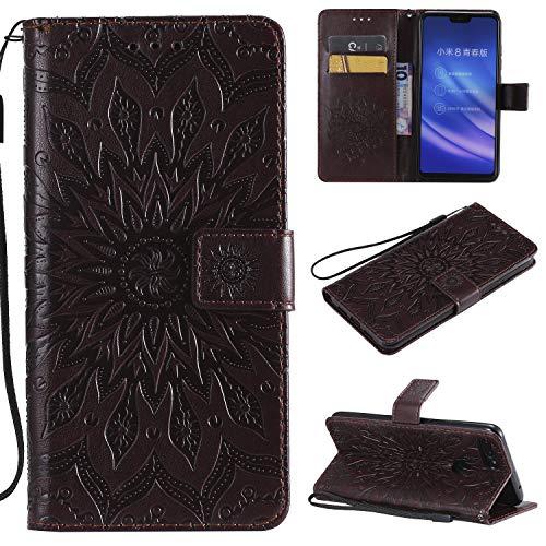 YYhin Schutzfolie für Xiaomi Mi 8 Lite / Mi8 Youth hülle, Cartera Wallet Leder abnehmbare magnetische abnehmbare Tasche mit Flip Schutzhülle Case.(Braun)