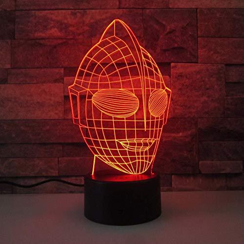 3D LED Acryl Nachtlichter LED Superman Cartoon Maske Modell USB Tischlampe Nacht Schlaf Beleuchtung Als Kinder Spielzeug ()