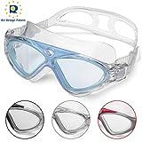 Occhiali da Nuoto per Adulto Anti Nebbia Nessuna Fuoriuscita Visione Chiara UV Protezione Facile da Regolare Professionale + Comodo per Uomo e Donna (Blue/Clear Lens)