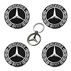 UG 4x Alloy Wheel Centre Caps Badges Emblem Hub Cap for Mercedes 75 mm Chrome Black Class A B C CLA CLS E G GLA GLC GLE GLS GL M S SL SLK AMG Replacement for Wheel Rims - Gift 3D Chrome Car Key Chain