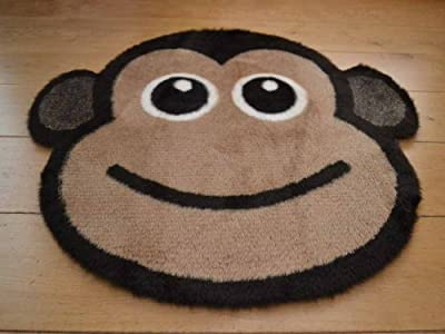 Cheeky Monkey Non Slip Machine Washable Sheepskin Style Kids Rug. Size 77cm x 77cm - low-cost UK rug store.