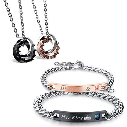 Flongo 2 Paar Halskette Armband Set, Edelstahl Armband Armreif Armkette Partnerarmbänder Anhänger Halskette Gravur Krone Ring Lieben Valentines Partner Ketten Herren,Damen Schmuckset