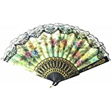 AUM- Lace Trim Colorful, Flower Floral Pattern, Hand Held Folding Plastic Japanese Silk Hand Fan (Black-L1).100% Hand Crafted, Gift Fan For Girls, Women, Wedding Party. Buy 100% Original Imported Hand Fan From Aum Impex Only