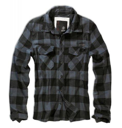 Herren Check Shirt (Brandit Herren Check Shirt Schwarz / Grau Größe XL)