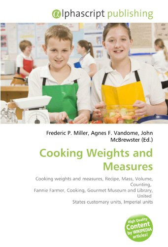 Cooking Weights and Measures: Cooking weights and measures, Recipe, Mass, Volume, Counting, Fannie Farmer, Cooking, Gourmet Museum and Library, United States customary units, Imperial units