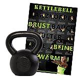 Kettlebell Kugelhantel Guss von POWRX 4 -20 kg (18 kg) + Workoutposter