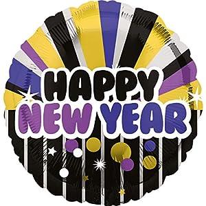 Amscan International 3400001 Happy New Year - Globo, color morado y dorado
