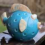 Wasserspeier Fisch blau mit Solarpumpe