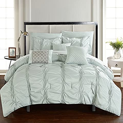 Chic Home 10 Piece Tori Pinch Pleated, Ruffled And Pleated Complete Bed In A Bag Comforter Set Sheets Set And Deocrative Pillows Included, King, Green by Chic Home