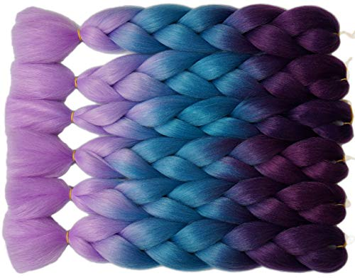 Onetree Haarverlängerung, Kunsthaar, Ombré-Stil, Lila/Seeblau/Hellviolett, 61 cm, 6 Stück (Extensions Light Purple Hair)