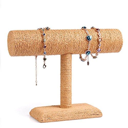 herzii beige Leinen Armband Halter Armbanduhr Halskette Schmuck Display Ständer, Orange, L Beige-leinen, Schmuck-display