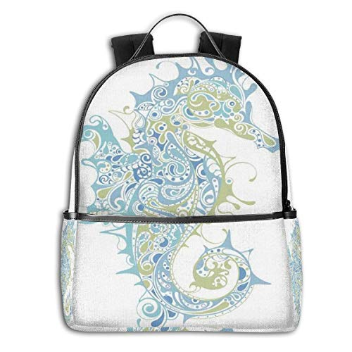Life-cycle-handy (College Backpacks for Women Girls,Greek Culture Art Textured Ancient Seahorse Idol Spiritual Life Cycle Artwork,Casual Hiking Travel Daypack)